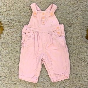 Pale pink corduroy overalls